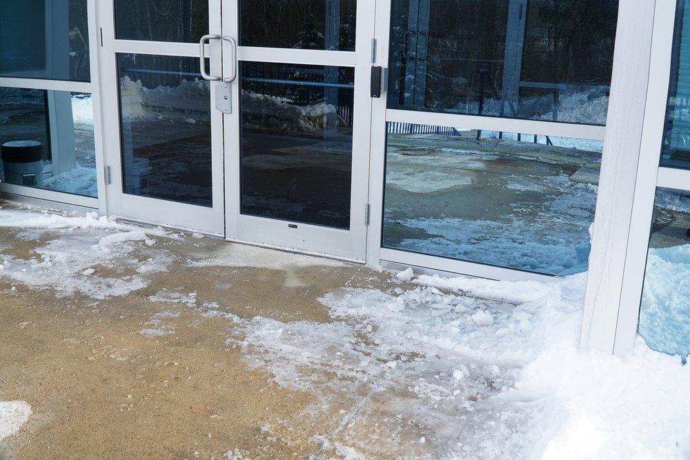 winter office entrance