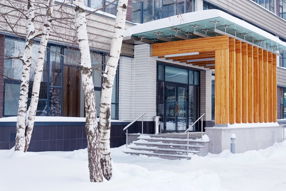 winter office building