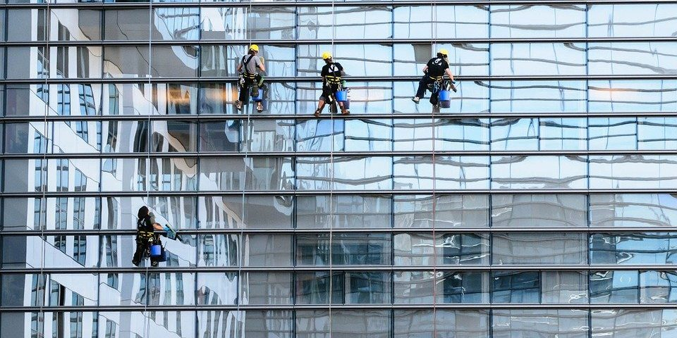 glass facade window cleaning panorama - Commercial Window Cleaning, GTA, Brampton, Vaughan, Mississauga